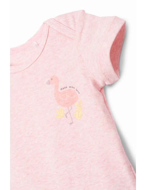 Body dziewczęce z krótkim rękawem  Flaming - różowe