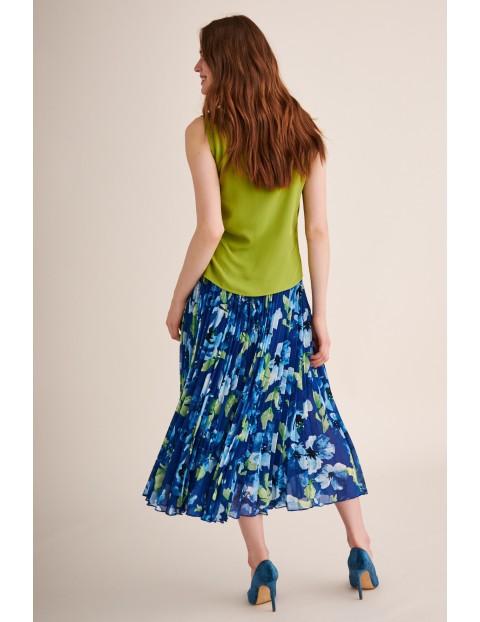 Bluzka tkaninowa bez rękawów - zielona