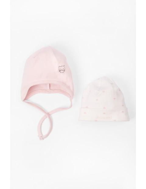 Bawełniane czapki dla niemowlaka 2 pak