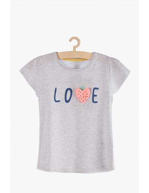 """T-shirt dziewczęcy szart z napisem """"Love"""""""