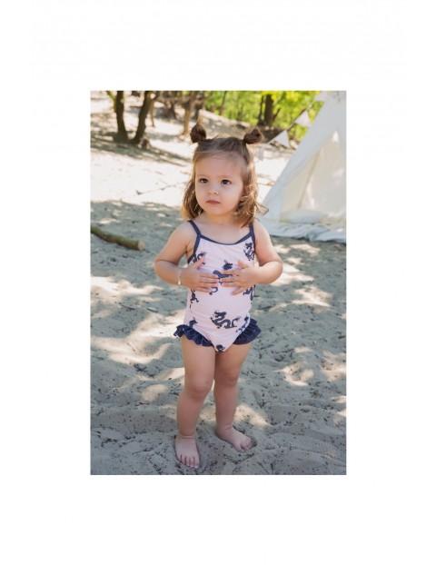 Strój kąpielowy dla niemowlaka-różowy w smoki
