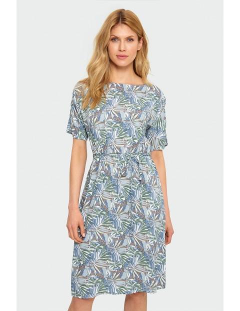Wiskozowa sukienka z motywem roślinnym