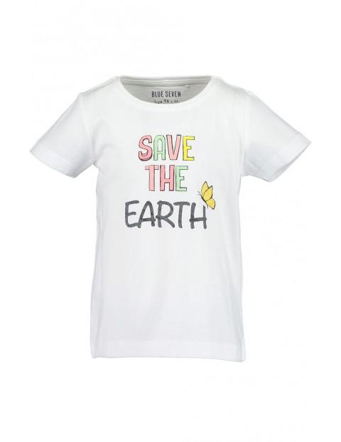 Koszulka dziewczęca biała z kolorowym napisem
