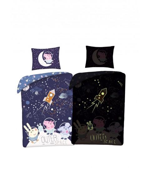 Święcąca w ciemności pościel + worek Peppa 140x200cm+70x90cm