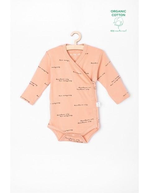 Body niemowlęce z bawełny organicznej z napisami Kocham Cię