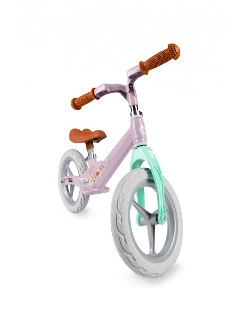 Ultralekki rowerek ze stopu magnezu MoMi ULTI różowy kwiaty