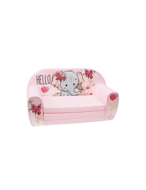Piankowa rozkładana sofa dla dziewczynki Delsit Słonik