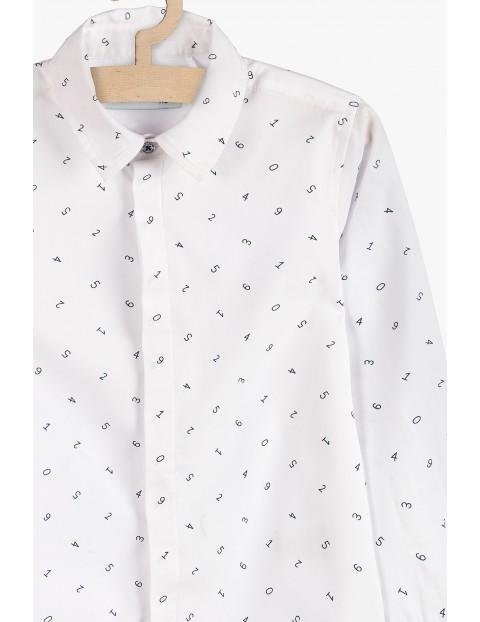 Biała koszula we wzorki- długi rękaw