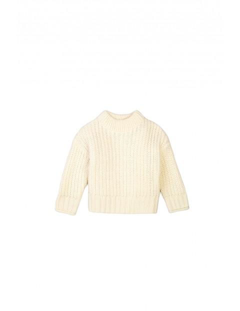 Sweter dziewczęcy dzianinowy kremowy
