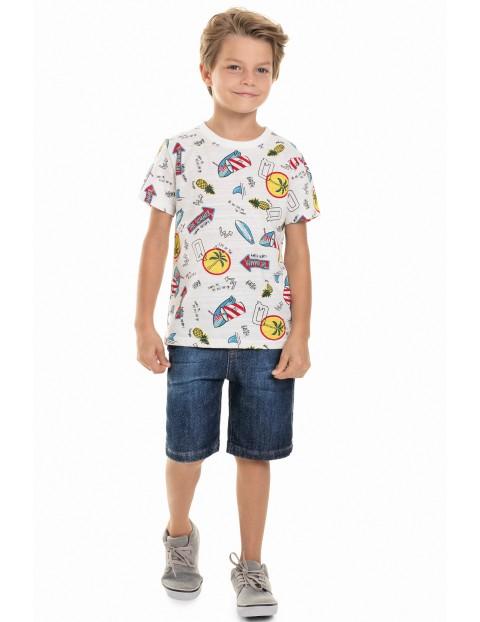 T-Shirt chłopięcy biały - wakacyjny wzór