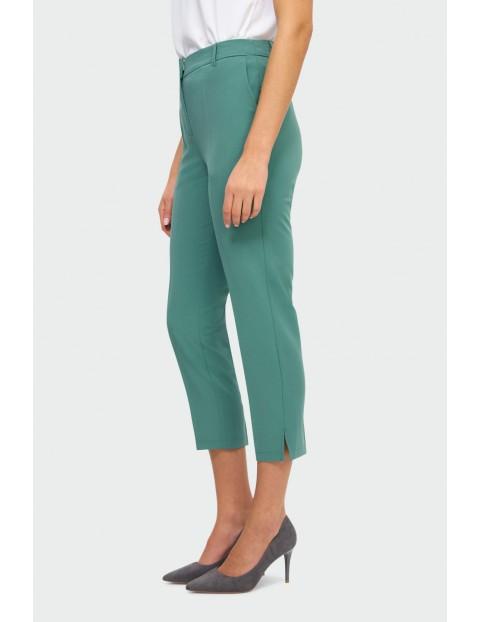Zielone eleganckie spodnie damskie - nogawka 7/8