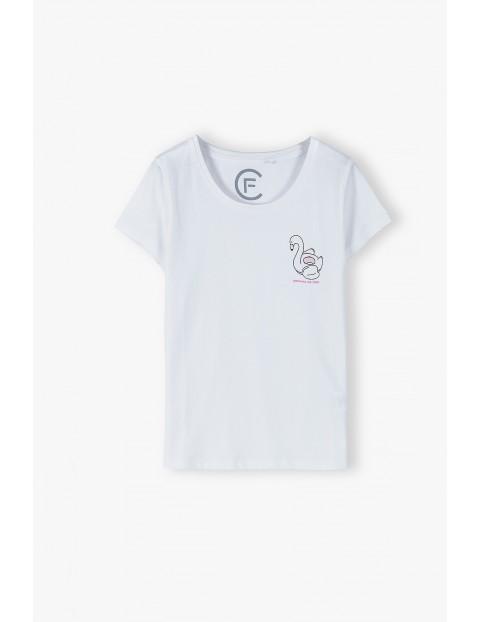 Bawełniany biały T- shirt damska- Gotowa na lato