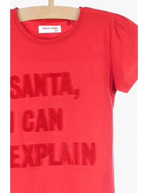 Świąteczny t-shirt z zabawnym napisem- czerwony