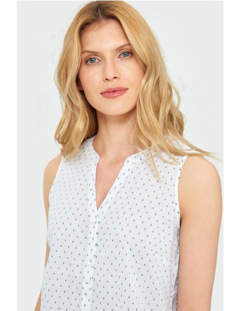 Bluzka damska biała w grochy