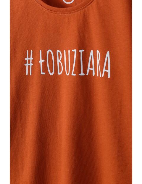 Bawełniany czerwony  t-shirt damski z napisem #Łobuziara