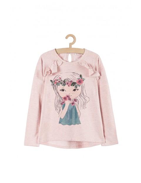Bluzka dziewczęca- różowa z kolorowym nadrukiem