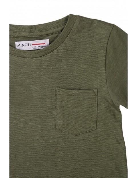 Bawełniany T-shirt niemowlęcy khaki