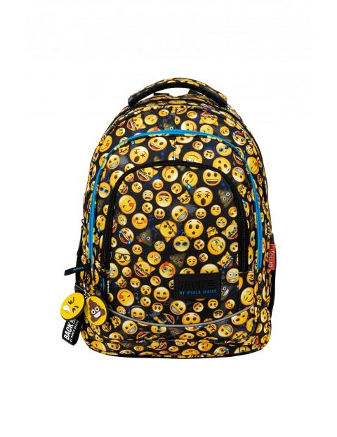 Plecak szkolny młodzieżowy BackUP 26 L EMOTIKONY - 3 komorowy czarny