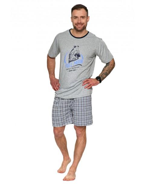 Piżama męska bawełniana dwuczęściowa z nadrukiem szara
