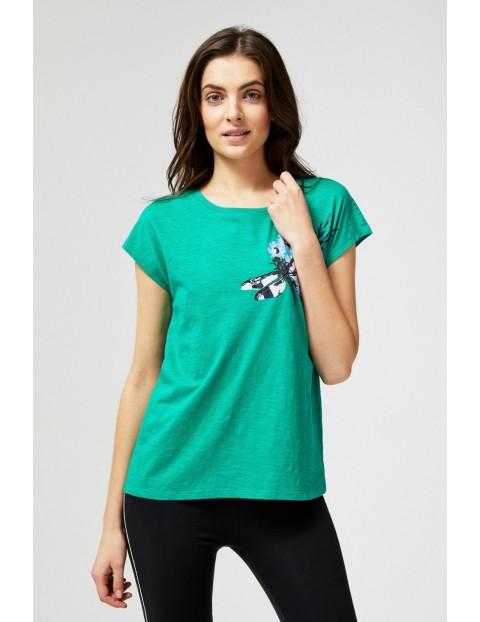 T-shirt damski bawełniany zielony