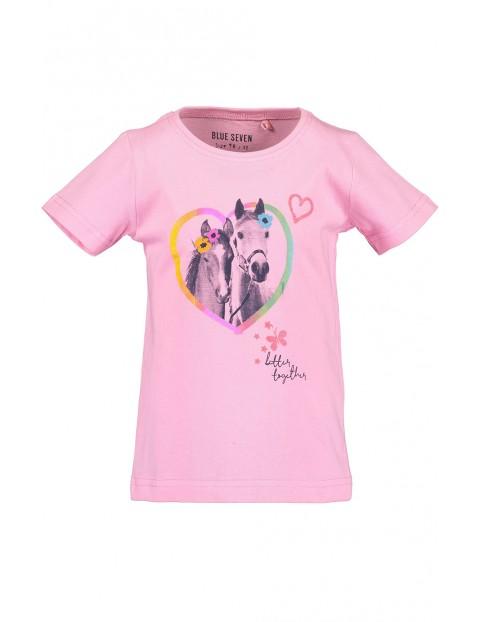 Koszulka dziewczęca różowa z konikami