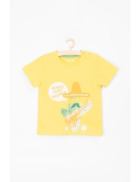 T-shirt dla niemowlaka zółty z kaktusem