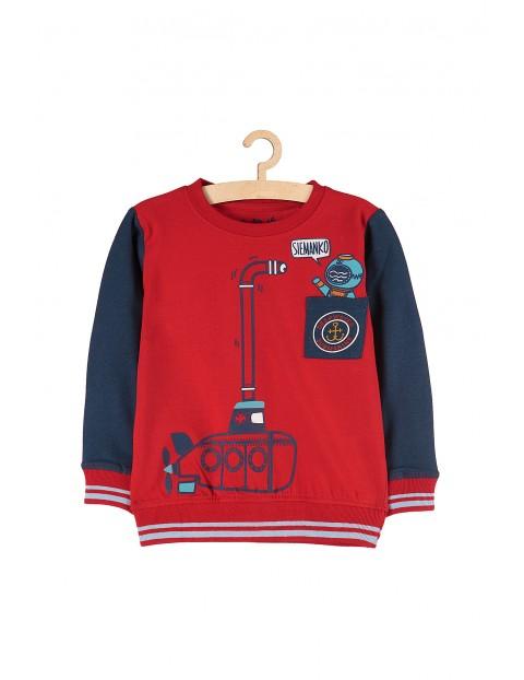 Bluzka chłopięca czerwona z łodzią podwodną