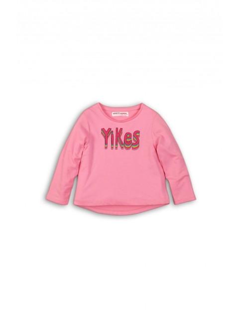 Różowa dzianinowa bluzka z długim rękawem