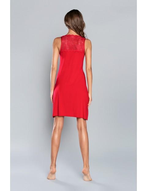 Koszula nocna damska w kolorze czerwonym z koronkową górą