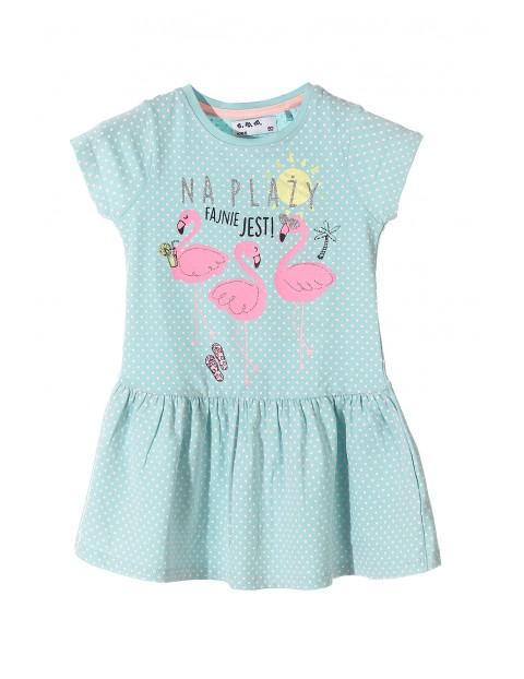 2abfbc603f Sukienka na lato dla dziewczynki- flamingi