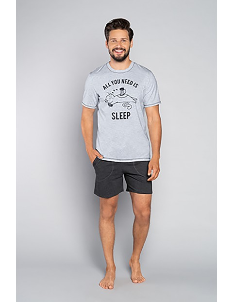 Bawełniana piżama męska z krótkim rękawem z napisem - szara