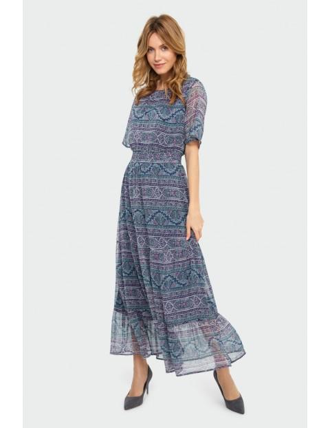Elegancka długa sukienka z nadrukiem