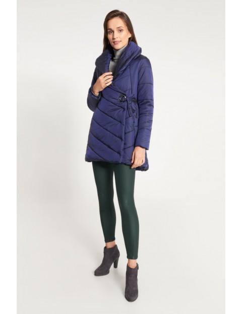 Granatowa kurtka damska z bocznym wiązaniem