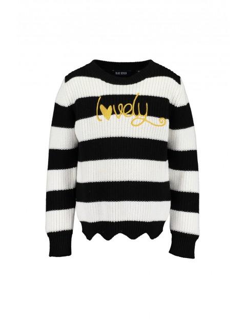 Sweter w biało czarne paski- Lovely