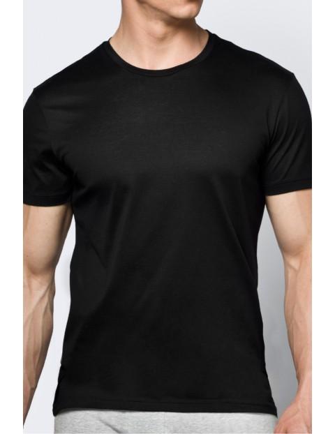 T-shirt bawełniany męski czarny ATLANTIC