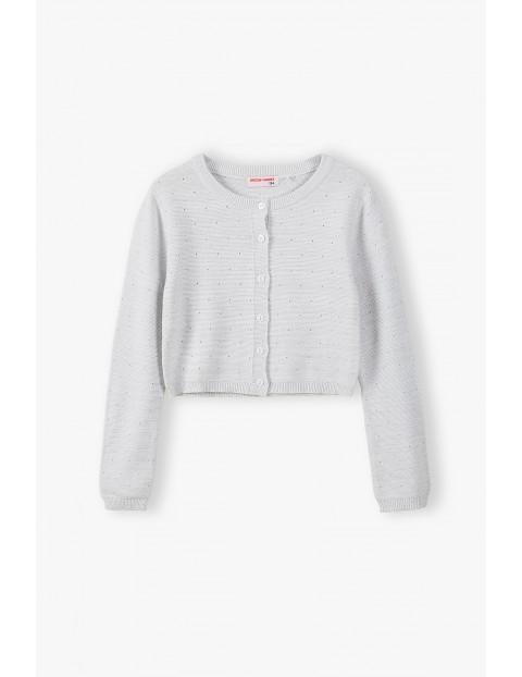 Sweterek dziewczęcy na guziki - biały ze srebrną nitką