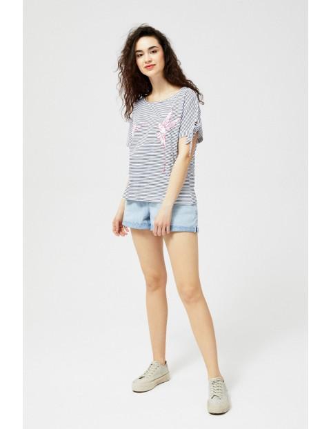T-shirt damski bawełniany z wiązaniami na rękawach- paski