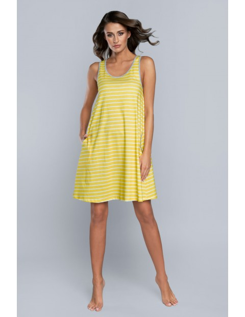 Koszula nocna damska w biało - żółte paseczki na ramiączka