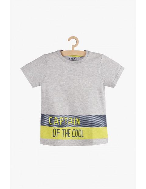 T-shirt chłopięcy szary z napisem