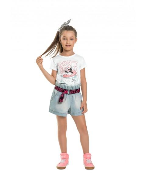 Koszulka sportowa dziewczęca z pieskiem - biała