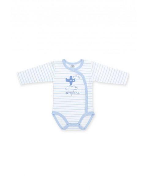 Body dla noworodka rozpinane długi rękaw niebieskie