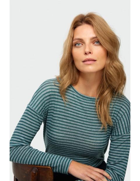 Bluzka damski w paski - zielona