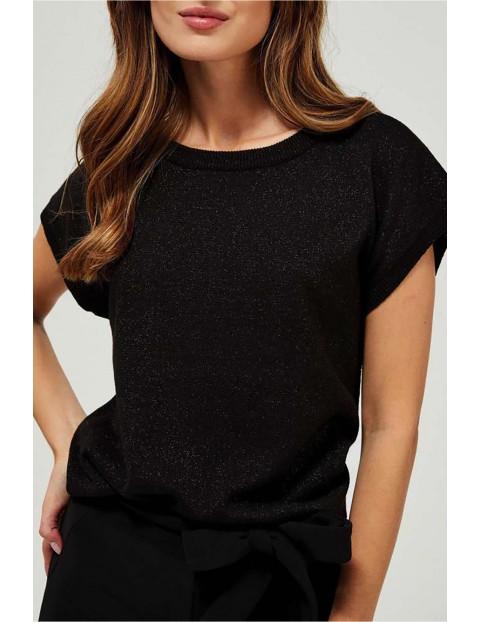 Sweter damski czarny z krótkim rękawem