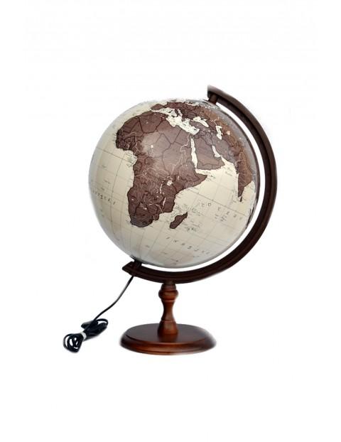 Globus 320 antyczny, podświetlany na drewnianej stópce