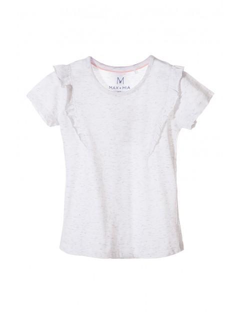 T-shirt dziewczęcy biały z ozdobną falbanką