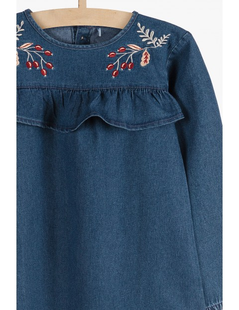 Sukienka dziewczęca jeansowa z ozdobnymi haftami