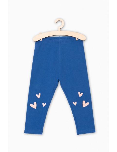 Leginsy dla niemowlaka- niebieskie z serduszkami