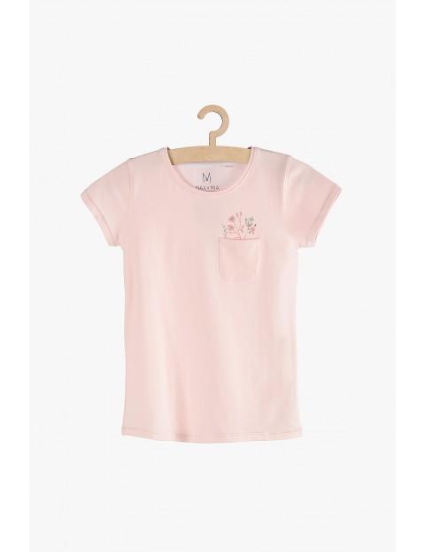 T-shirt dziewczęcy różowy z kieszonką
