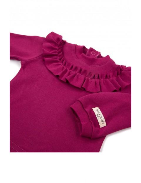 Bawełniana bluzka z falbanką - bordowy