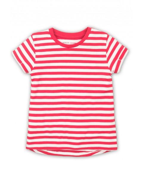 Koszulka dla dziewczynki- biało różowe paski